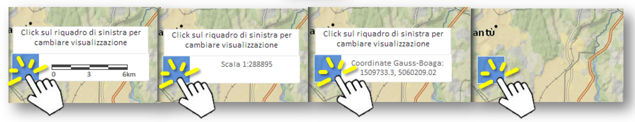 Con click successivi si possono attivare informazioni differenti e direttamente disponibili sulla mappa.