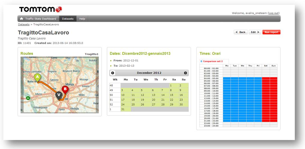 La schermata riassuntiva per l'estrazione di un Custom Travel time dall'Internet Stats portal di Tom Tom