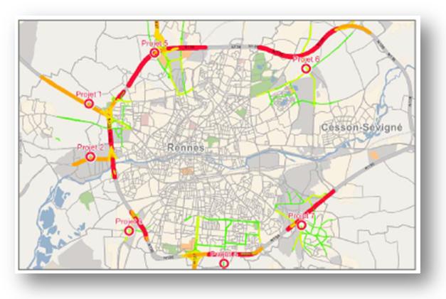 Custom Probe Counts trova applicazione in Analisi su vaste aree con la rappresentazione dei volumi di flussi di traffico sulla rete.
