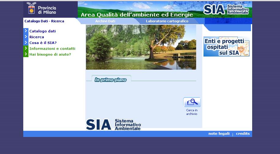 La pagina di Accesso al SIA della provincia di Milano.
