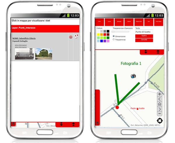 Dettaglio del Widget di Identify e del Tool di annotazioni. Tutti gli strumenti sono ottimizzati per dispositivi touchscreen con dita o pennino.