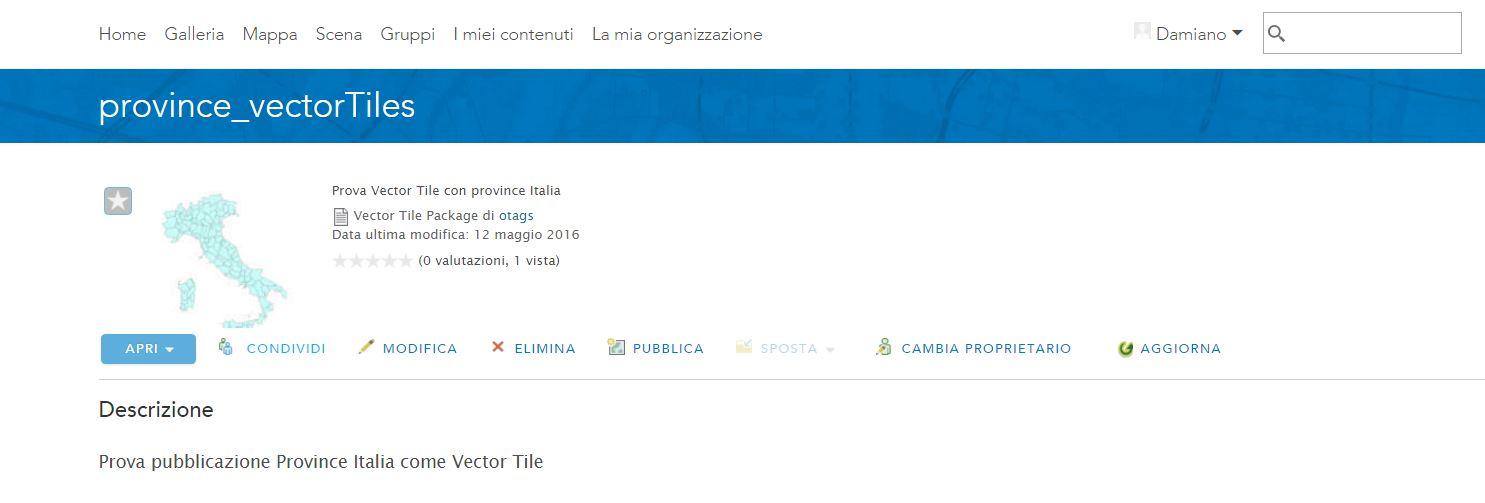 Pagina di dettaglio del pacchetto vettoriale (.vtpk) dove è possibile la pubblicazione come servizio ospitato.