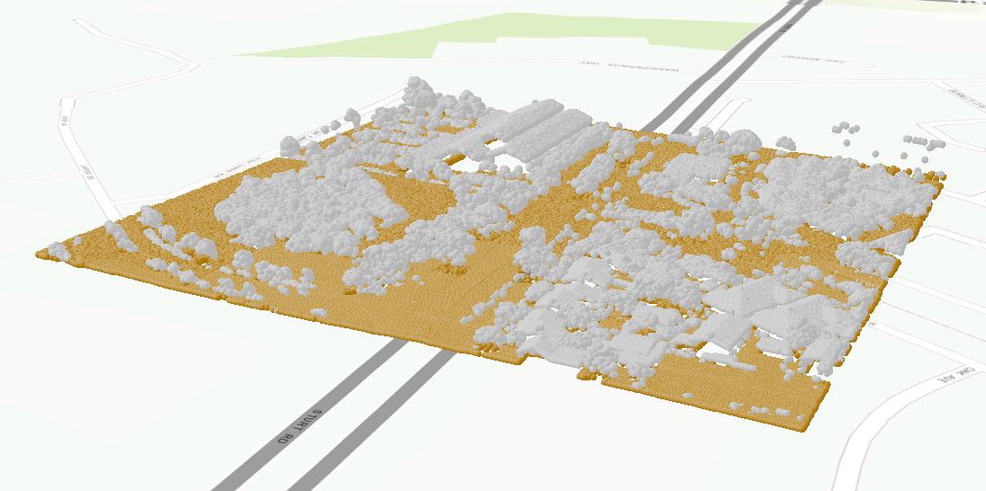 """Immagine di nuvola di punti LAS con terreno classificato usando il tool """"Classify LAS Ground"""""""