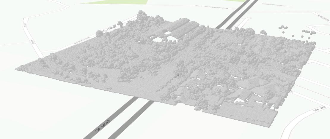 Immagine di nuvola di punti LAS non classificata